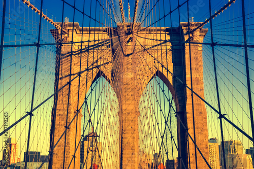 Foto op Aluminium Brooklyn Bridge Brooklyn Bridge during the sunset