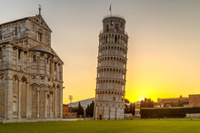 The Leaning Tower Of Pisa At Sunrise, Italy, Tuscany