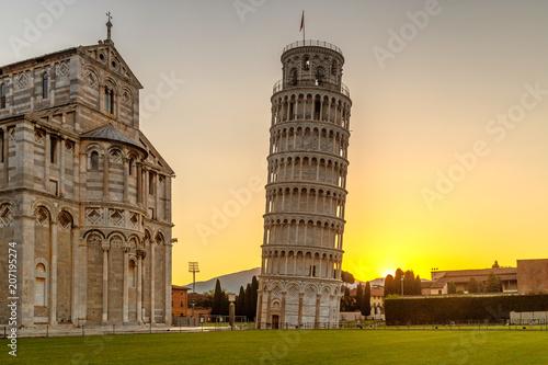 Fotografie, Obraz The Leaning Tower of Pisa at sunrise, Italy, Tuscany