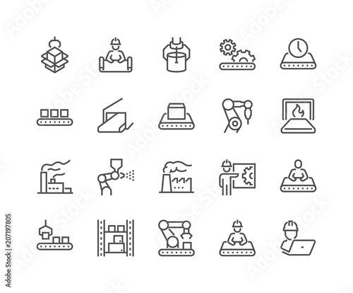 Simple Set of Mass Production Related Vector Line Icons. Contains such Icons as Industrial Oven, Robot Manipulator, Warehouse, Painting Bot and more. Editable Stroke. 48x48 Pixel Perfect.