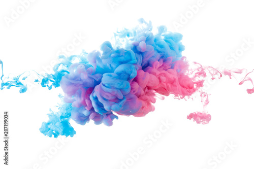 Blue and red paint splash isolated on white background
