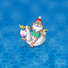 Santa Claus With Unicorn Inflatable Float Sail Along The Sea Ocean Or Pool
