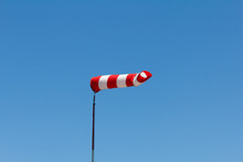 Windsock As A Gauge For Winds, Wind Vane On Aerodrome Airfield On An Air Show