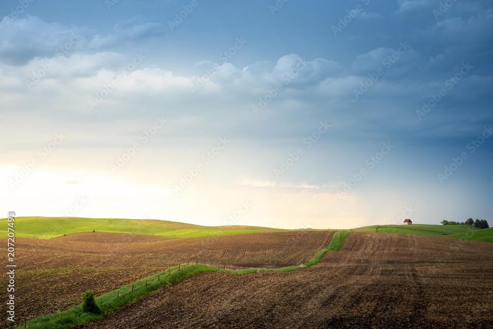 Fototapeta Minnesota farmland at sunset