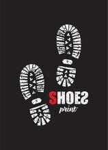 Shoe Print On Black Background