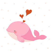 Cute Pink Whale With Hearts On Pink Dots Pattern