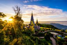 Sunrise Scence Of Two Pagoda O...