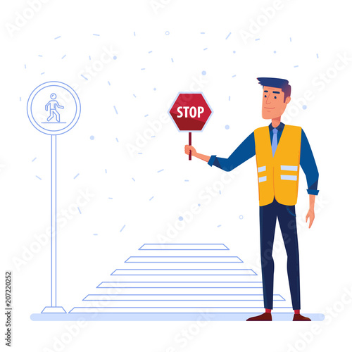 Carta da parati Traffic security guard in yellow vest with stop sign in front of the crosswalk