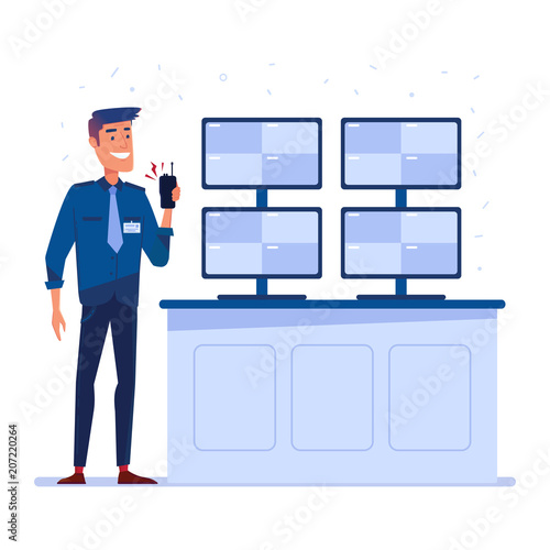 Security guard with portable radio in front of the screens in security control room Poster Mural XXL