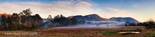 Poster Deep brown Panoramic view of alpine region near Mt Macedon, Victoria, Australia on an autumn morning