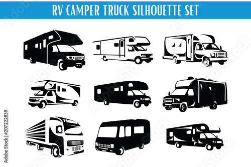 Fotomural RV Camper and Truck Silhouette Set