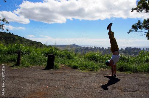 Poster Yoga school Man Handstands at Honolulu Lookout