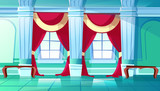 Ballroom of palace hall vector illustration of medieval castle interior of royal dancing room. Flat cartoon background with marble pillars, red drape curtains on windows and benches