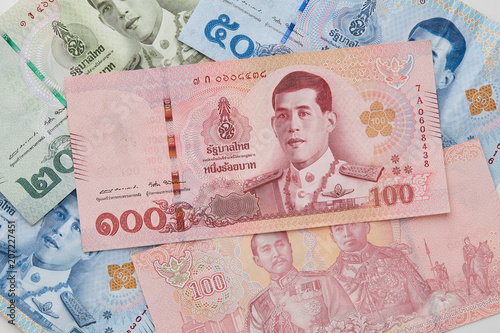 New Thai Baht on White Background Fototapeta