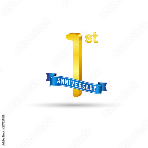 1st golden anniversary logo with blue ribbon isolated on white background 3d gold 1st anniversary logo buy this stock vector and explore similar vectors at adobe stock adobe stock 1st golden anniversary logo with blue