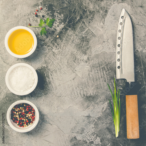 Photo  Kitchen knife and spices