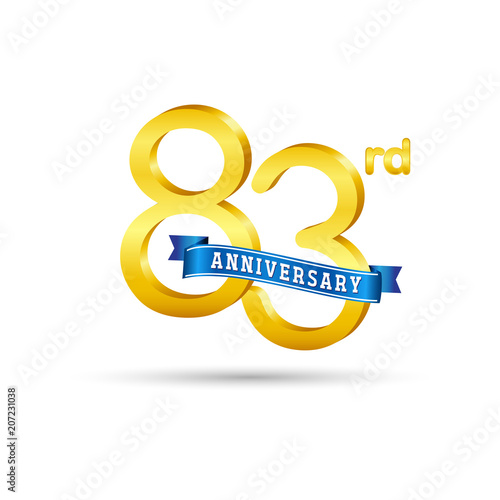 Poster  83rd golden Anniversary logo with blue ribbon isolated on white   background