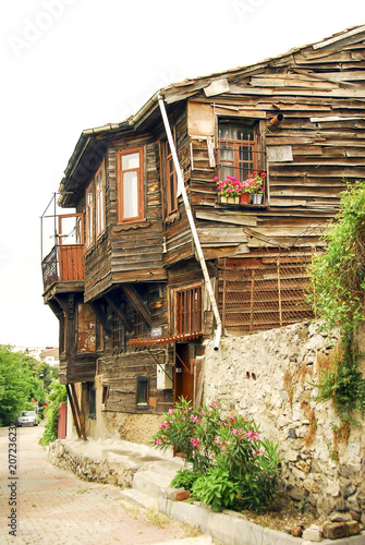 Istanbul, Turkey, 15 Julne 2006: Old Ihsaniye Wooden Houses in the Uskudar district of Istanbul Poster