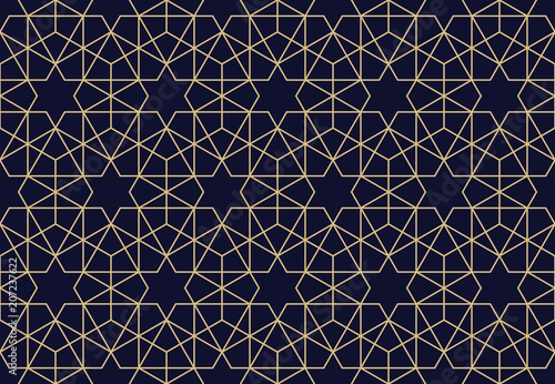 Cotton fabric The geometric pattern with lines. Seamless vector background. Dark blue and gold texture. Graphic modern pattern. Simple lattice graphic design