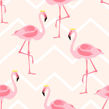 Seamless Pattern Pink Flamingo Standing Wears A Crown On Zig Zag Pastel Color Background.printing Wallpaper.vector Illustration