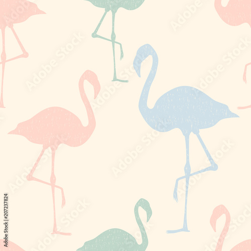Canvas Prints Flamingo Bird Seamless pattern flamingo standing on pastel background.printing wallpaper.vector illustration