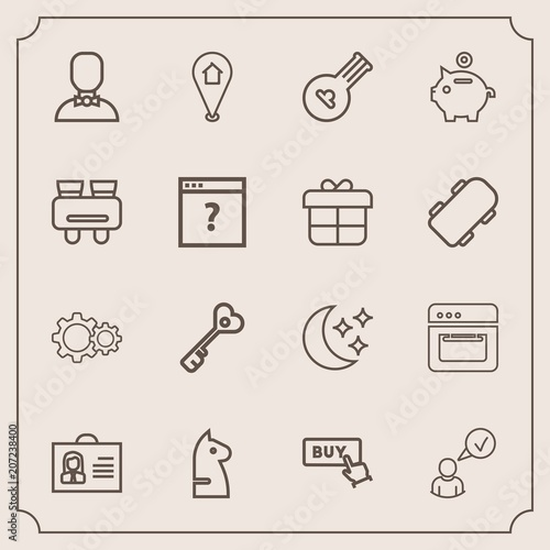 Modern, simple vector icon set with key, bank, chess