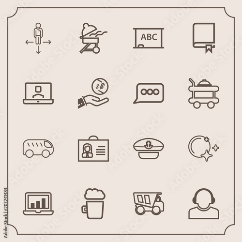 Fotografie, Obraz  Modern, simple vector icon set with screen, dump, left, computer, chart, barbecu