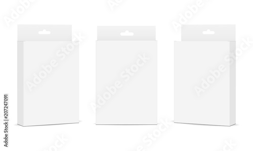 Fotografía  Set of packaging boxes with hang tab isolated on white background