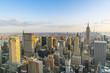 new york skyline at sunset.