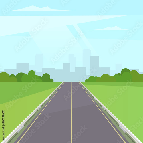 Fototapeta Road way to the city buildings on horizont. Landscape with highway traffic and cityscape under blue sky with clouds. Vector stock illustration in trendy flat style design obraz na płótnie