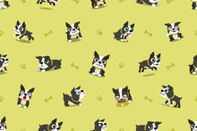 Vector Cartoon Character Boston Terrier Dog Seamless Pattern