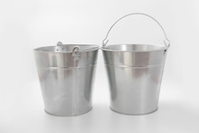 Bucket Metalic Galvanized Garden On White Background
