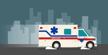 Flat Ambulance Car Vector Illu...