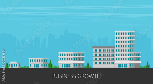 Obraz Growth of business. Buildings of company small, middle and big. Flat vector. - fototapety do salonu