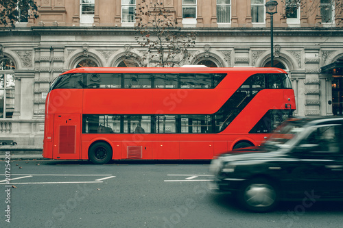 Red bus in London UK