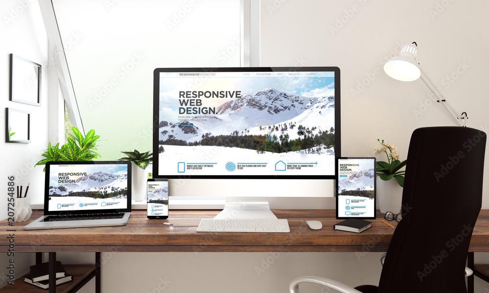 Fototapeta window office desktop devices responsive website