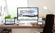 canvas print picture - window office desktop devices responsive website