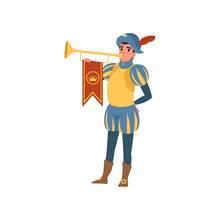 Royal Herald With Trumpet European Medieval Character Vector Illustration On A White Background