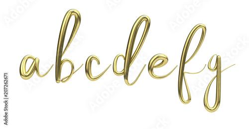 Lettes a, b, c, d, e, f, g, gold handwritten script font  3D