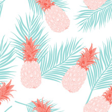 Seamless Pattern Pineapple Pastel Color On Tropical Leaves And White Background.printing Wallpaper.vector Illustration