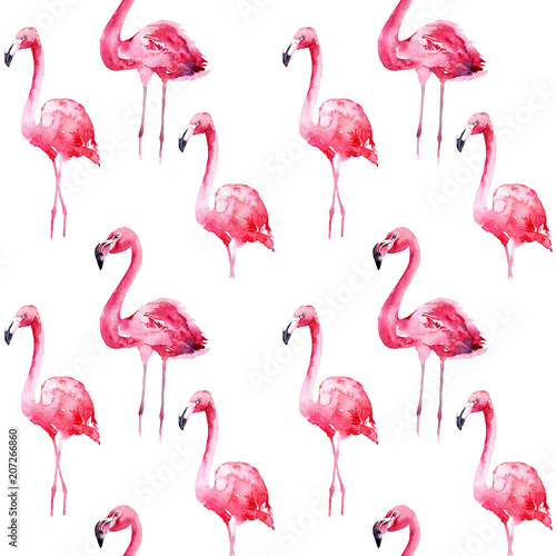 Canvas Prints Flamingo Watercolor seamless pattern with flamingo.