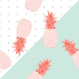 Seamless pattern Pineapple Exotic tropical fruit on pastel color background.printing wallpaper.vector illustration - 207267070