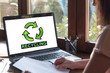 Recycling concept on a laptop screen
