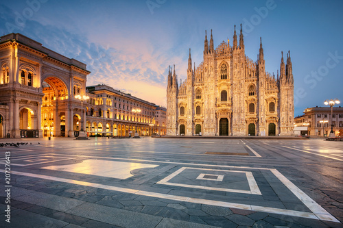 Recess Fitting Milan Milan. Cityscape image of Milan, Italy with Milan Cathedral during sunrise.