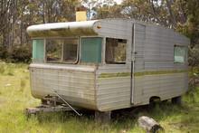 Abandoned Caravan Left In A Field