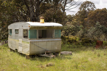 Abandoned Caravan Left In A Fi...