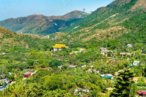 Tuinposter Aziatische Plekken Landscape of Ngong Ping Plateau on Lantau Island in Hong Kong