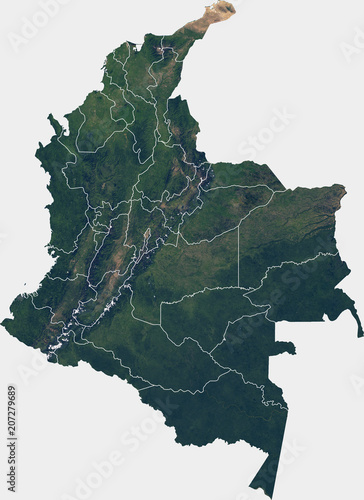 Obraz na plátne Large (25 MP) satellite image of Colombia with internal (departments) borders