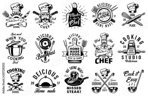 Obraz na płótnie Set of cooking emblem