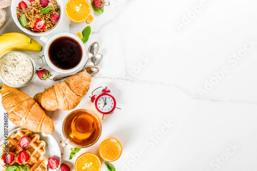 Fotografía Healthy breakfast eating concept, various morning food - pancakes, waffles, croi
